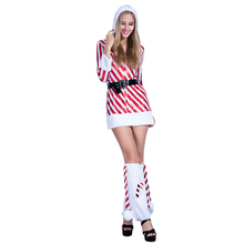 adults women sexy girls white and red stripe Christmas costumes new year hooded one piece dress