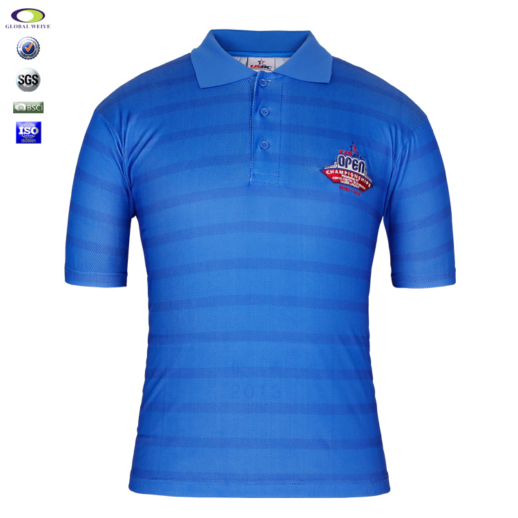 Custom Mans Golf Striped Polo Shirt Polyester