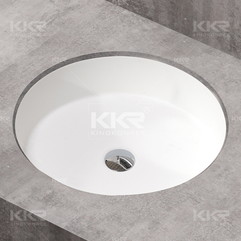 white round undermount countersunk bathroom sink