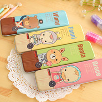 Japanese Wholesale supplier school stationery items names girls school cartoon animal metal pencil case