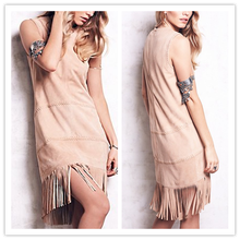 Dropshipping Women Clothing Suede Fringe Summer Party Dress for Fantastic Nude Women NT6406