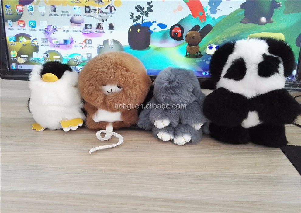 2016 Newest real mink/rabbit fur pom poms Panda/Monster/Monkey/penguin for kid Christmas day of the Dead rabbit decorations gift