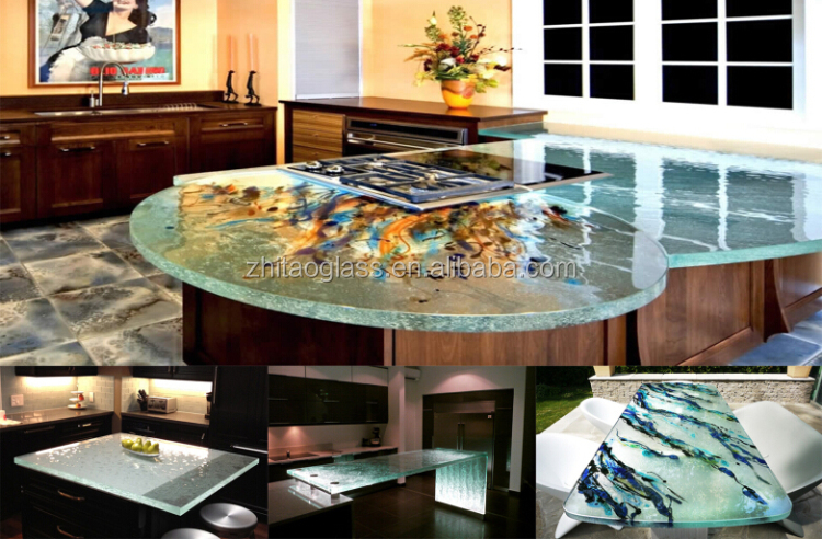 Hot sale decorative glass kitchen countertop table top worktop