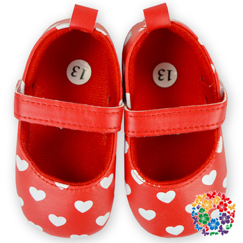 White Heart Printed Baby Shoes Wholesale Baby Girls Leather Shoes Cute Cheap Shoes In Stock