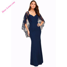 Women Fashion V Cut Open Back Lace Cape Sleeve Maxi Evening Dress Made in China