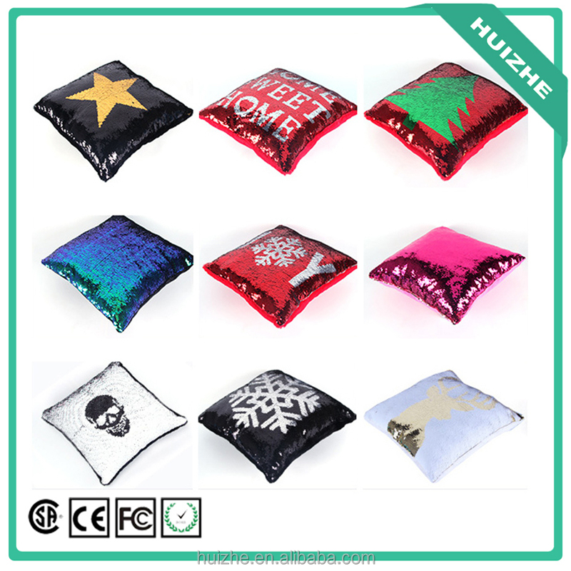 Factory Wholesale Custom Printed Reversible Sequins Mermaid Pillow Cases Two Colors Magic Throw Pillow Covers