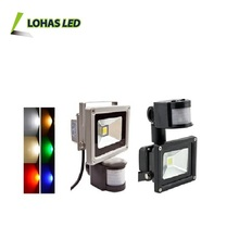 Motion Sensor PIR Flood 10W 20W 30W 50W 70W 80W 100W Cool/Warm White RGB CE RoHS 86-265V IP65 led flood light huizhuo lighting