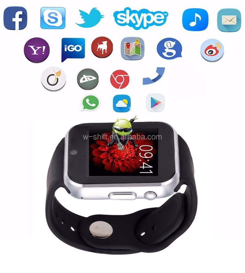 Bluetooth Smart Watch1.54 inch Android 4.4 OS 3G Smartwatch Phone MTK6572A Dual Core 1.2GHz 4GB ROM Camera WCDMA GPS