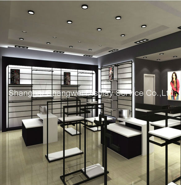 Fashion black white metal clothes stand shop design , clothing rack and gondola display