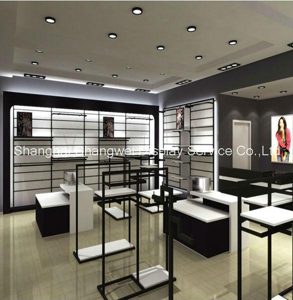 Fashion zwart wit metalen kapstok winkel ontwerp kledingrek gondel display en weer te geven - Te vangen zwart wit ontwerp ...