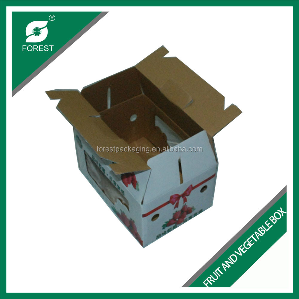 NEW DESIGN CORRUGATED FRESH FRUIT BOX FOR STRAWBERRY PACKAGING WITH HANDLES