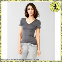V-Neck Blank 100% Cotton Slim Fit Sexy Lady Tunics Tee Shirt