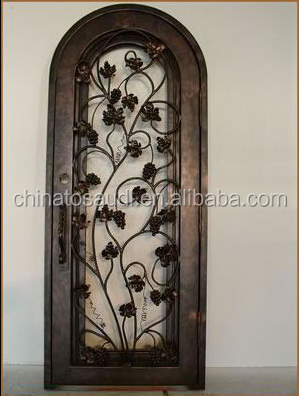Round top wrought iron double doors with transom for villa Wrought iron exterior main door design Wrought iron security door