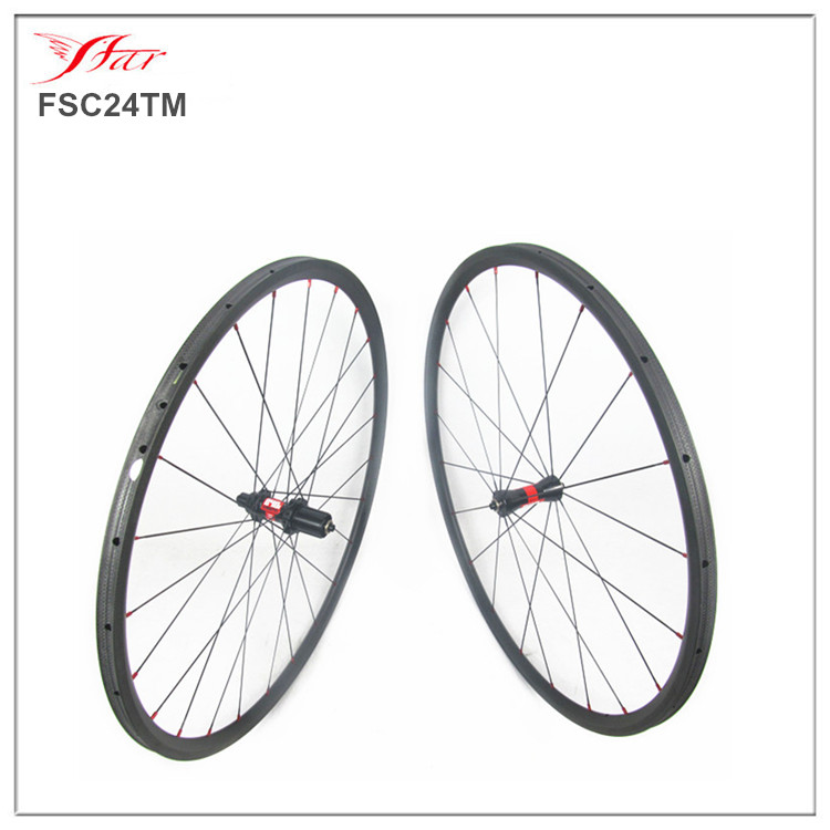 Super light low profile carbon wheels 24mm tubular, 20.5mm racing bike wheels with Sapim spokes wholesale