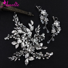 Wedding Jewelry Rhinestone Headpiece Flower and Leaf Hair Clip and <strong>Earring</strong> For Bridal Women Barrette Hair Grips <strong>Earrings</strong>