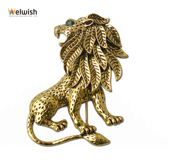 China Wholesale Fashion Metal Retro Lion Brooch For Clothes Deco
