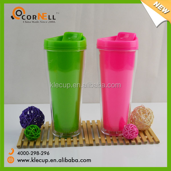 China supplier paper insert tumbler double wall plastic travel mug