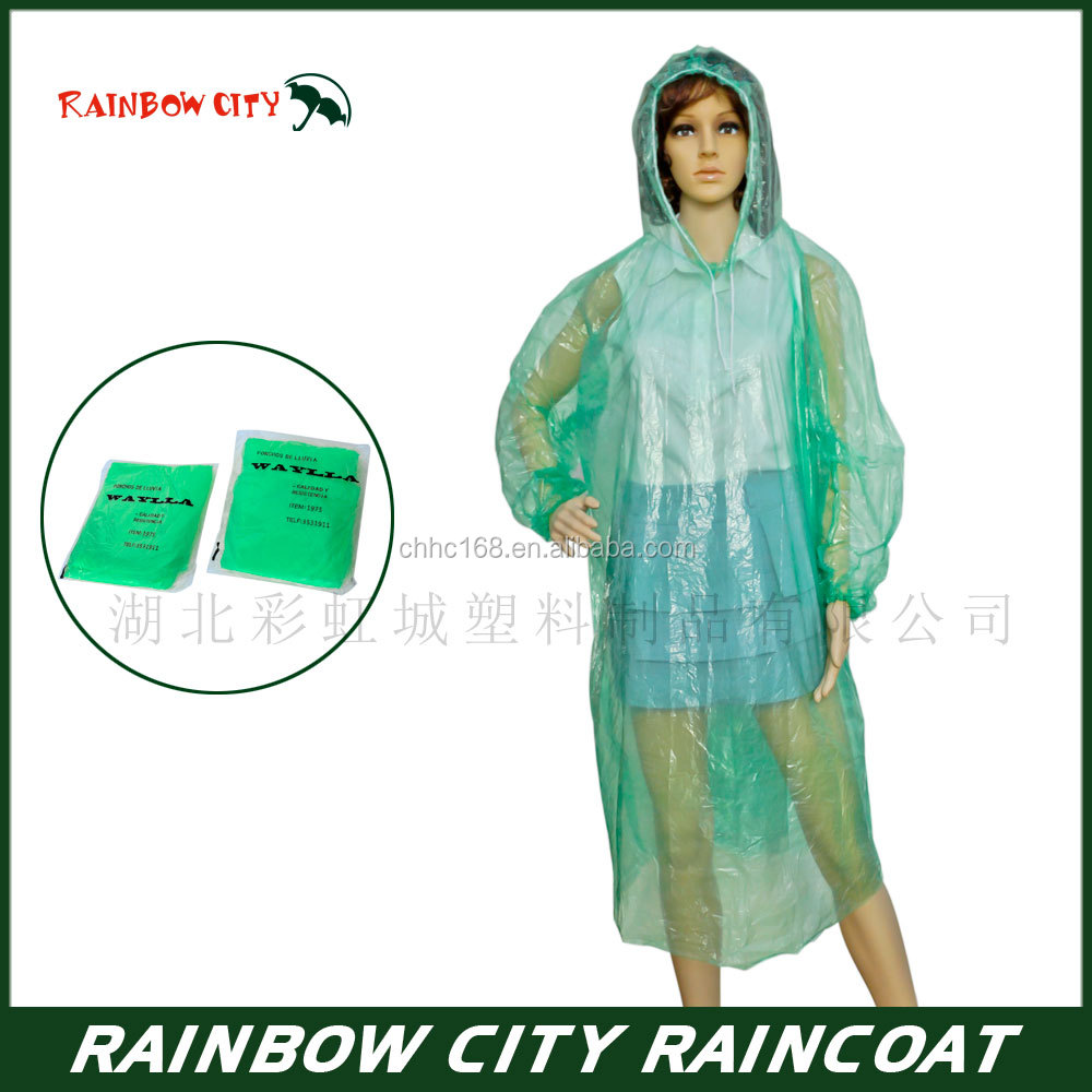 Outdoor light weight disposable biodegradable PE raincoat rain poncho custom logo