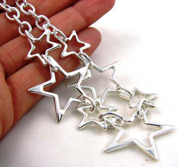 Stunning SOLID 925 Taxco Silver Star Necklace