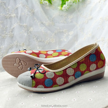 latest colorful soft ladies flat pump canvas working pu leather shoes 2017 women