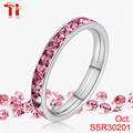 premier jewelry wedding engagement ring diamond single stone ring designs silver color stainless steel channal setting crystal