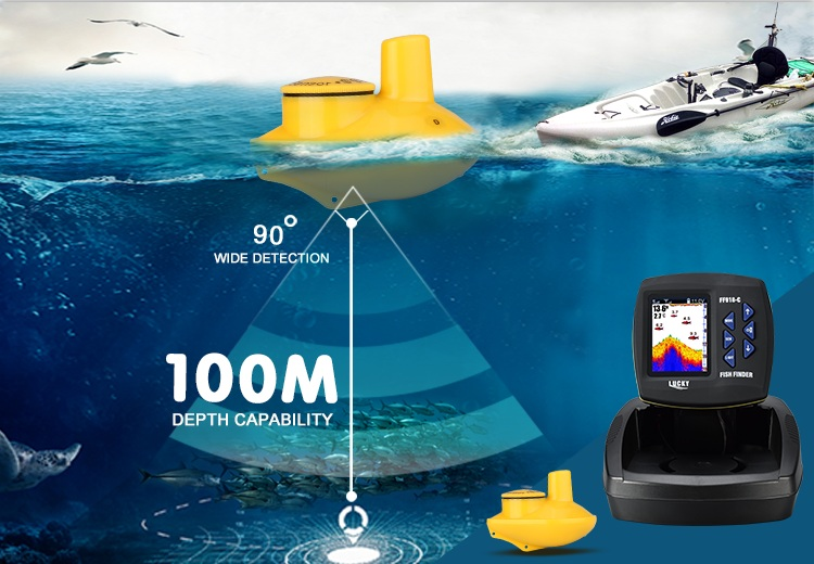 2018 Wire/Wireless Color Boat Fish Finder (FF918-C100W)