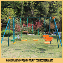 Kids Playground Steel & Plastic Swing Set Powder Coating Swing Outdoor