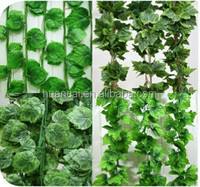 Real touch hand-making artificial flower leaves,artificial plant with green leaves