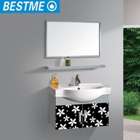 Fancy Bathroom Mirrors Vanity Cabinets with Glass Washbasin