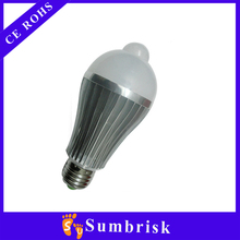 Aluminum 3W-18W E27 human body induction LED bulb 5-7m led infrared