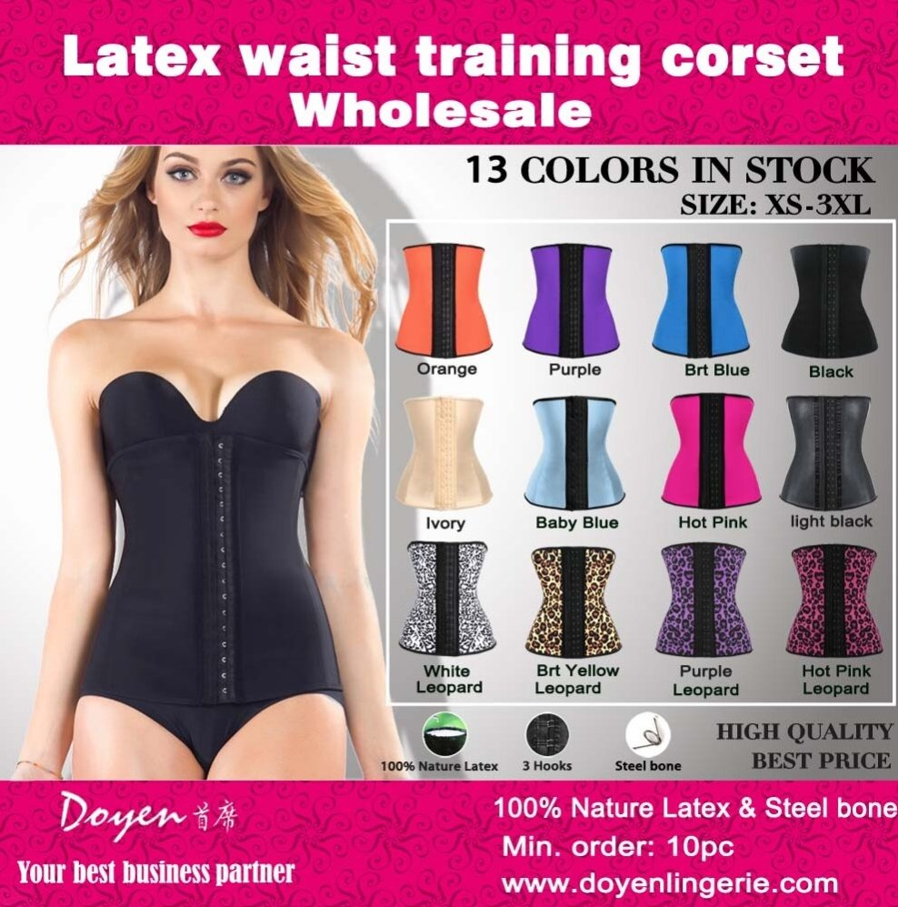 colorful waist training corset latex wholesale plus size steel boned sexy waist slimming corset