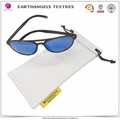 white microfiber sunglasses pouch with embossed print logo