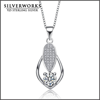 Wholesale Fashion 925 Sterling Silver Wedding Pendant With Big Clear Zircon