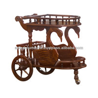 Natural Swan Tea Cart with 3 Wheels
