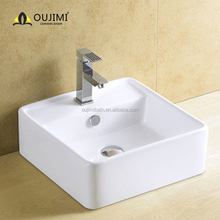 South American white ceramic / bathroom sink / table top art basin with overflow hole