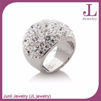 Fantastic Shinny Stones Ring Stainless Steel Czech Stone Fashion Wedding Rings
