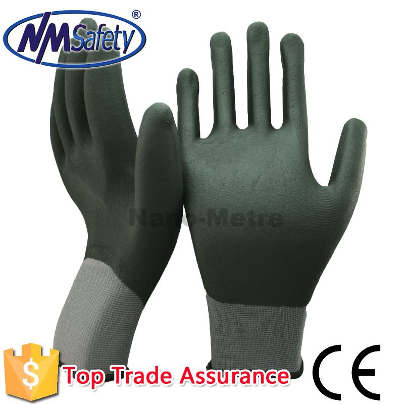 NMSAFETY nylon and spandex fully coated nitrile led gloves wholesale china