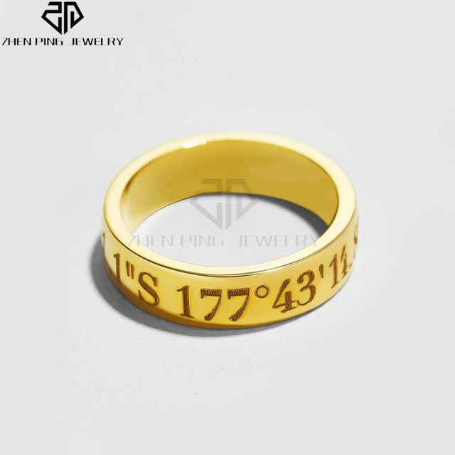 Engraved Coordinates Band Ring Personal Custom Initial Ring