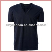 Deep v neck men's plain black t shirts wholesale