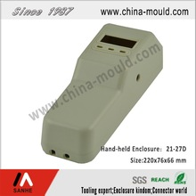 Plastic electronic hand-held enclosure with battery