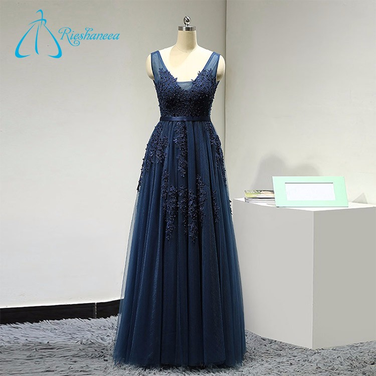 2017 Latest Design Long Style Open Back Sash A-Line Lady Evening Dress