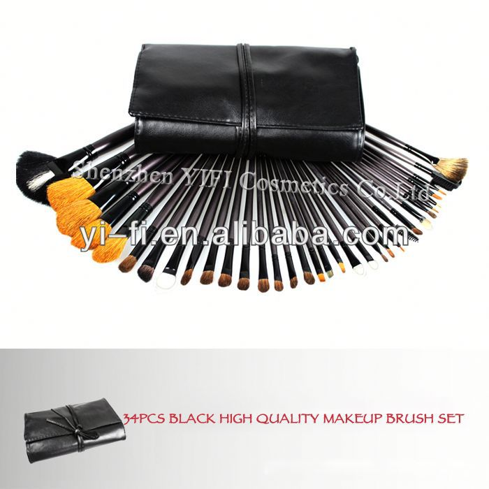 Wholesaler! Pro 34 pcs full makeup brushes set nail brush kit