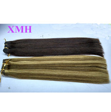 High quality human hair weave 160g mixed brown and blonde color double drawn indian hair