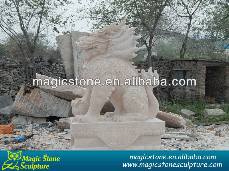 garden white stone carving dragon sculpture