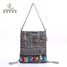 Newest fashion wholesale dubai ladies handbags with canvas strap
