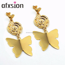 AFXSION Gold plated stainless steel stud earrings butterfly-shaped Virgin Mary Earrings