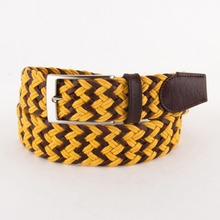 New Trend Black and Yellow Weave Braided Genuine Leather Belt For Men