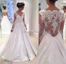 2016 Custom Made Cover Back Satin Appliques Long Sleeve Alibaba Wedding Dress