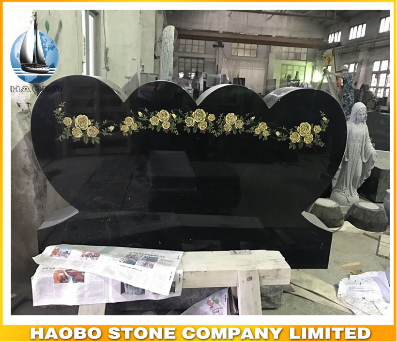 Customize price Black Granite Double Heart Shaped grave monument slab,cheap upright tombstone sign for cemetery bench,headstone
