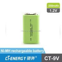 9V ni-mh rechargable battery high power type 250mah for digital multimeter